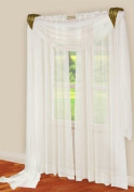 3 Piece White Sheer Voile Curtain Panel Set