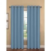 Bella Luna Bliss Faux Silk Room Darkening 190cm x 210cm . Grommet Curtain Panel Pair, Blue