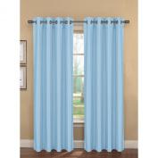 Bella Luna Bliss Faux Silk Room Darkening 190cm x 210cm . Grommet Curtain Panel Pair, Dusk Blue