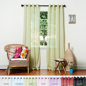Best Home Fashion Crushed Voile Sheer Curtains - Antique Bronze Grommet Top - Lime Green - 130cm W x 210cm L -