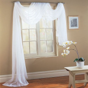 Beautiful White Elegance Window Sheer Voile Scarf 140cm X 550cm