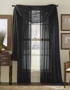 Black 550cm Sheer Window Scarf