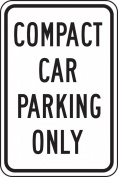 "Accuform Signs FRP189RA Engineer-Grade Reflective Aluminium Parking Sign, Legend ""COMPACT CAR PARKING ONLY"", 46cm Length x 30cm Width x 0.2cm Thickness, Black on White"