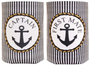 Couple's Sailing Gift Beer Coolie Captain and First Mate Nautical Anchor Coastal Themed 2 Pack Can Coolie Drink Coolers Coolies Premium Full Colour