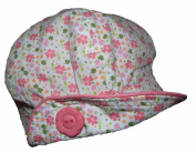 Baby Girls Baker Boy Style Hat Cap Ditsy Floral Print Peach and Pinks 0-3m 6-12m