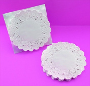 School Smart Round Paper Lace Doilies - 10cm - Pack of 100 - White