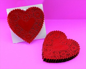 School Smart Heart Shaped Paper Lace Doilies - 10cm - Pack of 100 - Red