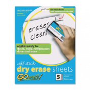 GoWrite! Dry Erase Self-Adhesive Sheets, 22cm by 28cm , 5 Sheets