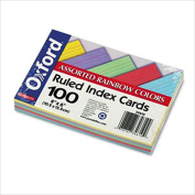 Recycled Oxford Colour-Pack Index Cards, Ruled, 10cm x 15cm , 20 Each 5 Colours, 100/Pack ESS34610