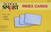 School Smart Heavyweight Plain Index Cards - 13cm x 20cm - Pack of 100 - Blue