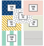Modern Thank You - 144 Note Cards for $32.99 with 6 Modern Patterns and Colours Including Light Grey Envelopes