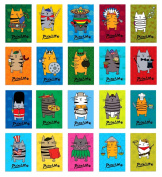 PICATSO postcard set of 20. Post card variety pack with funny fat cat theme postcards. Made in USA.