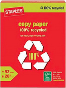 Staples 100% Recycled Copy Fax Laser Inkjet Printer Paper, 22cm x 11 Letter Size, 9.1kg., 92 Bright White, Acid Free, Ream, 500 Total Sheets