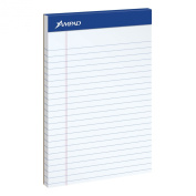 Ampad Jr. Notepad, College/Medium Ruled, 50 Sheets, White, 13cm x 20cm , 12 per Pack