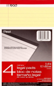 Mead Canary Junior Legal Pads, 13cm x 20cm , 4 Pack 50 Sheets