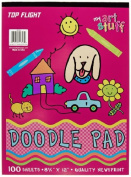 Top Flight Doodle Pad, White Newsprint Paper, 8.75 X 12 Inches, 100 Sheets