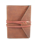 Leather Companion Journal with Wraparound Strap to Close, Brown 10cm X 15cm with Lined Paper Filler (Refillable Paper) Handcrafted in USA