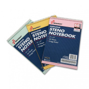SKILCRAFT 7530-01-454-5702 3 Piece ECF Recycled Steno Pad Pack, 15cm x 23cm , Assorted Colour