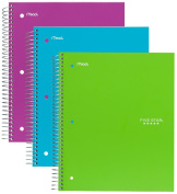 Five Star Spiral Notebook, 1 Subject, 100 Wide Ruled Sheets, Teal, Lime, Berry Pink/Purple, 3 PACK