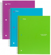 Five Star Spiral Notebook, 1 Subject, 100 College Ruled Sheets, Teal, Lime, Berry Pink/Purple, 3 PACK