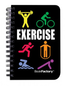 BookFactory® Exercise Journal / Mini Exercise Diary / Fitness Notebook / Exercise Log Book, 120 pages - 8.9cm x 13cm (Pocket Sized), Durable Thick Translucent Cover, High Quality Wire-O Binding (JOU-120-M3CW-A