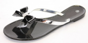 shoefashionista Ladies Toe Post Flat Bow Diamante Flip Flops Summer Jelly Shoes Sandals Size