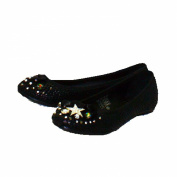 Black snake effect flat party shoes with bow detail