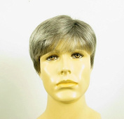 natural hair short wig for man grey white poly mesh ref FRED 44
