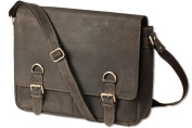 Woodland - Luxury bag with extra notebook bag made of natural buffalo leather in dark-brown/taupe