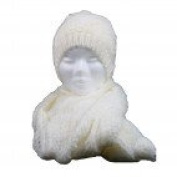 Shopping-Mode and Scarf Set in Mesh and Matching Hat, Extra Thick Beige-Beige, Acrylic
