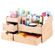 Fashion Wooden Makeup Storage Box Cosmetic Display Organiser Printing Pure colour