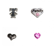 Daughter set 4 Floating charms - Daughter in heart, Family in heart with flower, Little girl and pink crystal heart