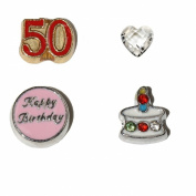 50th Birthday set 4 Floating charms - 50 red and gold, Happy Birthday in pink, Cake with stones and clear heart