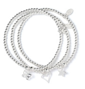 Set of 3 Sterling Silver 'Rice & Noodle' Ball Bead Bracelets- Heart, Butterfly and Star