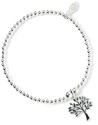 Sterling Silver 'Rice & Noodle' Ball Bead Bracelet with Tree of Life Charm