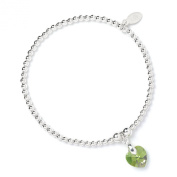 Sterling Silver 'Rice & Noodle' Ball Bead Bracelet with. Crystal Elements Peridot Heart