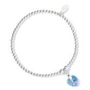 Sterling Silver 'Rice & Noodle' Ball Bead Bracelet with. Crystal Elements Aqua Heart