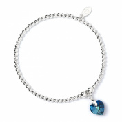 Sterling Silver 'Rice & Noodle' Ball Bead Bracelet with. Crystal Elements Bermuda Blue Heart