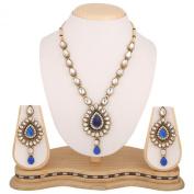 Deep blue kundan like work Indian bollywood necklace jewellery set b160bb160b