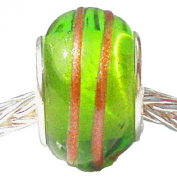 Charm Buddy Green Gold Stripe Glass Charms Bead Fits Gold Silver Pandora Style Bracelets Womens Jewellery