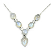The Silver Plaza Gorgeous Sterling Silver Moonstone Y-necklace