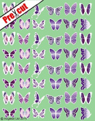 48 X PRE-CUT PURPLE WHITE MIX BUTTERFLY EDIBLE RICE / WAFER PAPER CUP CAKE TOPPERS BIRTHDAY PARTY WEDDING DECORATION