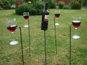 Garden Wine and Glass Holder - These Wine Bottle Glass Holders are Ideal for Your Barbecue, Beach Party or Event - 100% Lifetime Guarantee