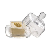 SQUARE GLASS BUTTER DISH WITH LID/PAT WITH LID