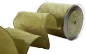 May Arts 10cm Wide Ribbon, Olive Solid