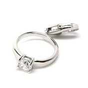Engagement Ring - Wedding - Love - 925 Sterling Silver Clip-On Charm/ Pendant