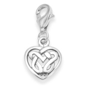 Sterling Silver Celtic Heart Charm - SIZE