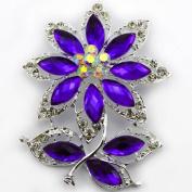 NEW 7.1cm LARGE SILVER plated FLOWER & LEAF BROOCH PURPLE rhinestone DIAMANTE CRYSTAL bridal wedding BROACH GIFT UK