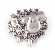 St Justin Pewter Swirly Sheep Brooch