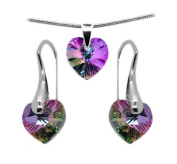 Made with. Crystals Heart Pendant Necklace Earrings Silver Jewellery SET for Women in Pink Purrple Blue